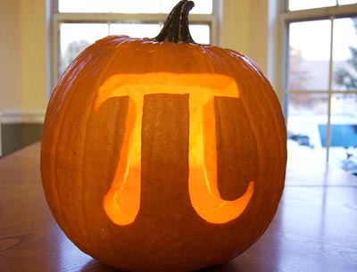 Jack O Lantern design by Casey Fleser of a mathematical sympbol Pi.