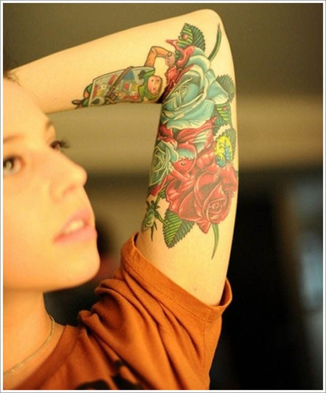 rose-tattoo-designs-red-and-green-sleeve-tattoo