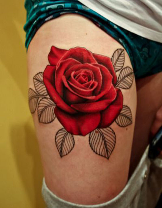 rose-tattoo-designs-rose-with-outlined-leaves-tattoo