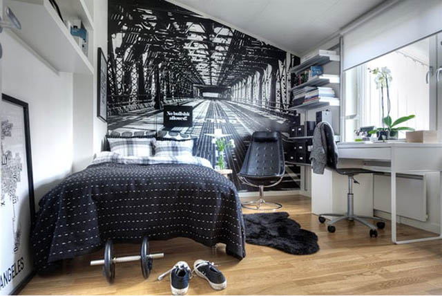 small-bedroom-decorating-ideas-using-balck-and-white-photos