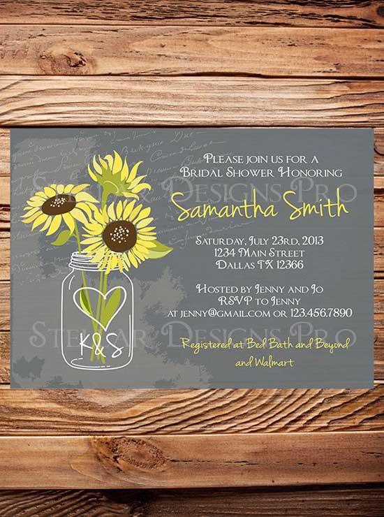 sunflower bridal shower invitations image etsy