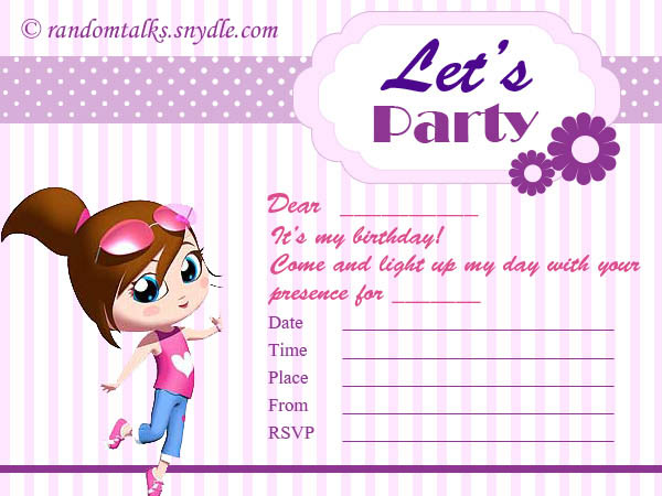 Birthday Invitations Printable gangcraftnet – Invitation Birthday Card