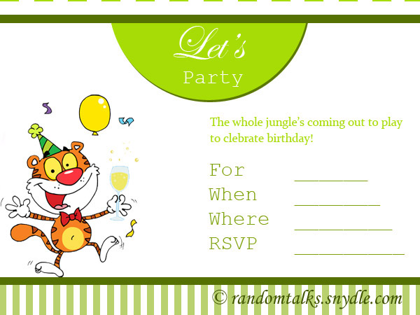 Printable Birthday Invitation Party Cards For Kids
