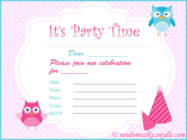 Printable Birthday Invitations For Kids  Free Birthday Template Invitations