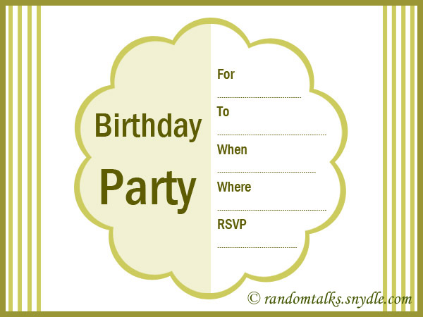 Free Printable Birthday Invitations Random Talks - Free birthday invitation templates for adults