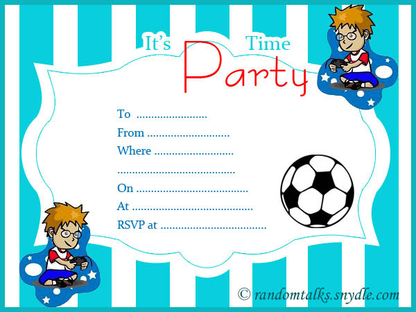 Free Printable Birthday Invitations Random Talks – Free Boys Birthday Invitations
