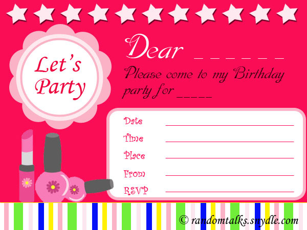 Free Printable Birthday Invitations - Random Talks