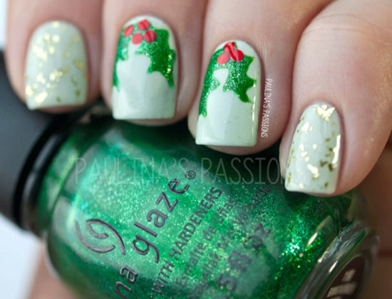 50 fabulous christmas nail art designs random talks festive holly nail art design prinsesfo Gallery